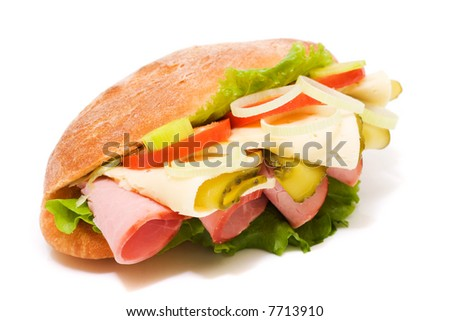 Sandwich on white background. Junk food image series