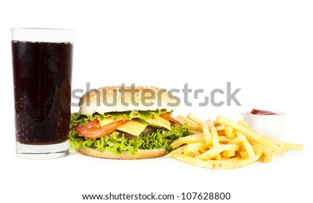 Sandwich, potato and cola on a white background