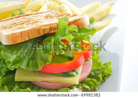 Sandwich prepared from a ham of toasts, a fried potato, the Bulgarian pepper and salad leaves on a light plate, a shot horizontal