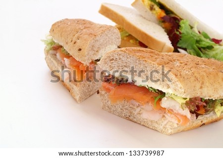 sandwich selection on white