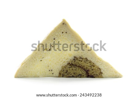 Sandwich sliced whole grain bread with banana on white background - stock photo