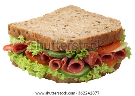 Sandwich toast bread for breakfast with salami ham, cheese, tomatoes, lettuce isolated on a white background