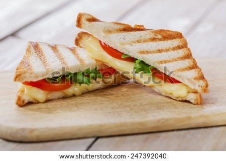 sandwich toast grilled with cheese and tomatoes - stock photo