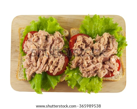Sandwich tuna and vegetable on plate top view on white background - stock photo