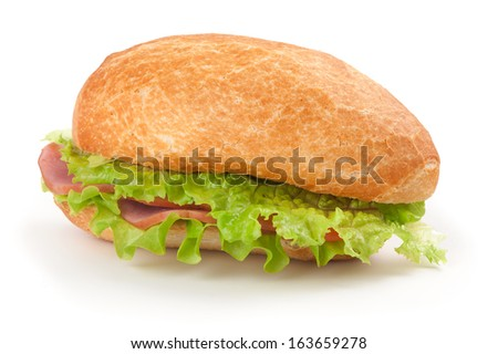 sandwich with bacon and vegetables isolated on white