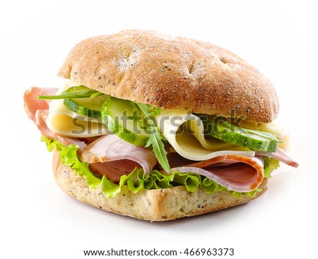 sandwich with bacon, cheese and cucumber isolated on white background