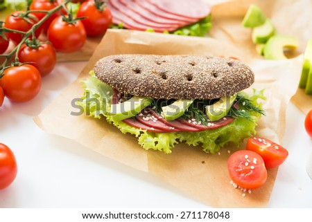 Sandwich with Beef Ham and Vegetables - stock photo