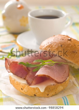 sandwich with cheese and ham for breakfast, selective focus - stock photo