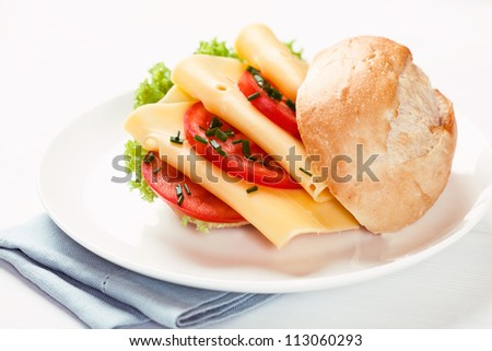 Sandwich with cheese and tomatoes on a plate