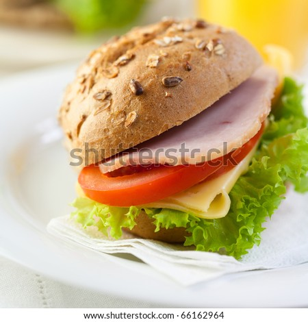 Sandwich with cheese, ham and vegetables - stock photo