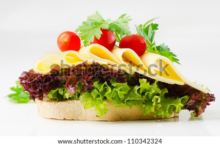 sandwich with cheese,herbs and tomatoes
