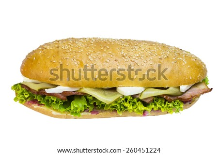 sandwich with cheese vegetables meat and seafood on a white background