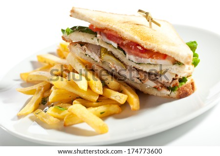 Sandwich with Chicken and Bacon Garnished with French-fries