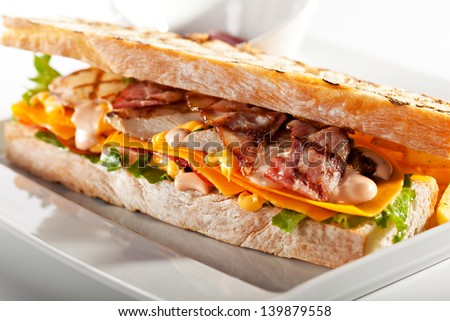 Sandwich with Chicken and Bacon Garnished with Fries and Sauce - stock photo