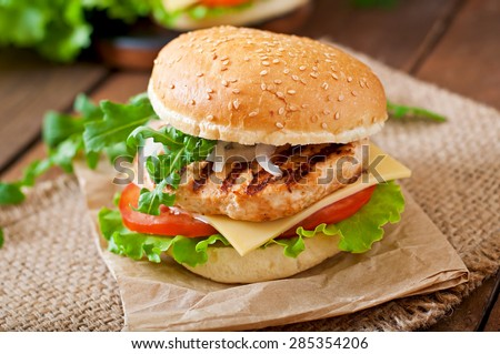 Sandwich Chicken Burger Tomatoes Cheese Lettuce Stock ...