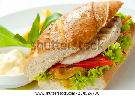 Sandwich with chicken, vegetables and french fries on a white plate - stock photo