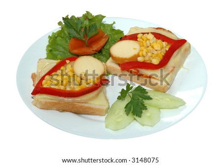 Sandwich with corn and piper