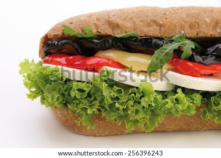 Sandwich with feta and grilled vegetables