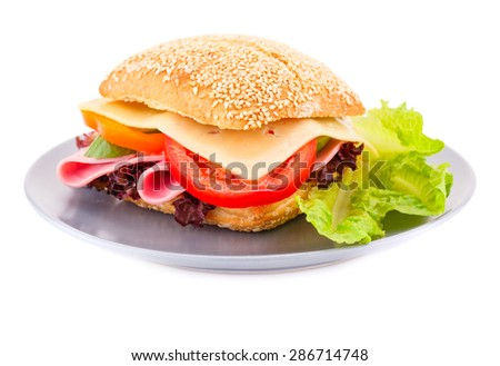 Sandwich with fresh vegetables, ham and cheese on plate. - stock photo