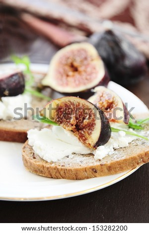 Sandwich with  goat cheese and fig  - stock photo