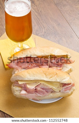 sandwich with ham and bier - stock photo