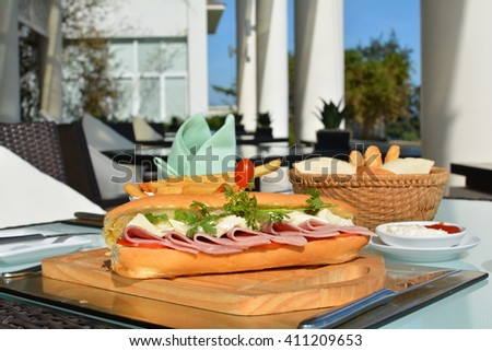 Sandwich with Ham and Cheese, Wooden Board, Restaurant, Interior
