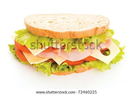 sandwich with ham and vegetables isolated on white background