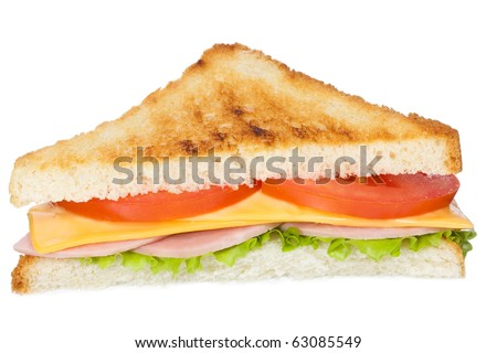 sandwich with ham and vegetables on white background - stock photo
