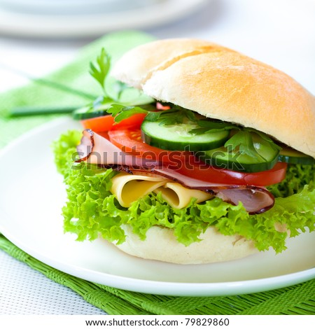 Sandwich with ham,cheese and fresh vegetables