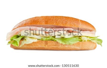 sandwich with ham cheese and salad - stock photo
