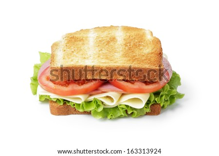 sandwich with ham, cheese and vegetables, isolated