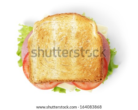 sandwich with ham, cheese and vegetables, isolated - stock photo