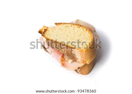 sandwich with ham isolated on white background