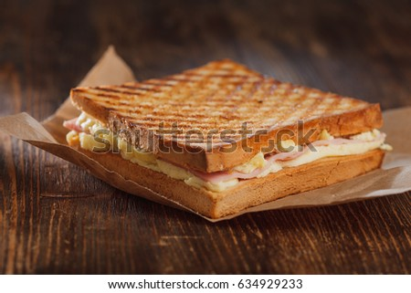 Sandwich with ham, omelet