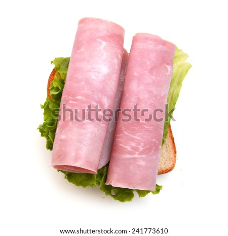 sandwich with ham on white background cutout  - stock photo
