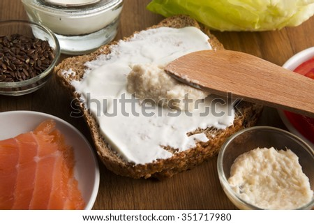 sandwich with ingredients - stock photo