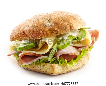 sandwich with meat, cheese and vegetables isolated on white background
