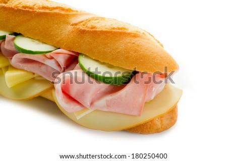 sandwich with mortadella and cheese - stock photo