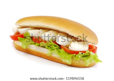 Sandwich with mozzarella tomato and salad - stock photo