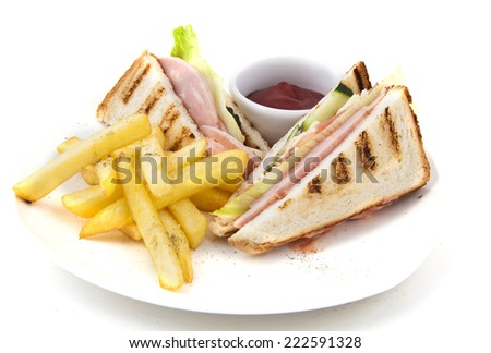 Sandwich with potato on the plate - stock photo