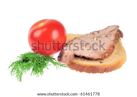 Sandwich with Roast beef. Isolated on white.