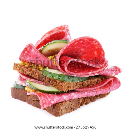 Sandwich with salami and cucumber isolated on white - stock photo