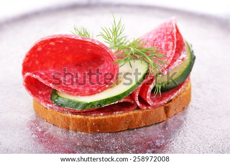 Sandwich with salami and cucumber on metal tray background - stock photo