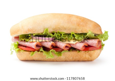 Sandwich with salami and vegetables on white background