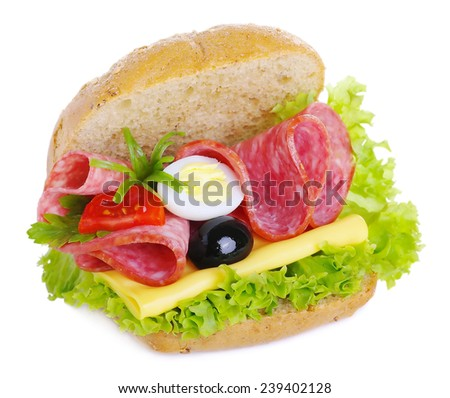 Sandwich with salami cheese egg salad cucumbers onions olives and tomatoes isolated on white background - stock photo