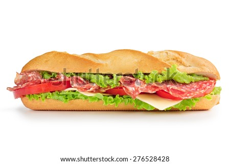 sandwich with salami cheese, tomato and lettuce - stock photo