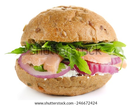 Sandwich with salmon isolated on white - stock photo