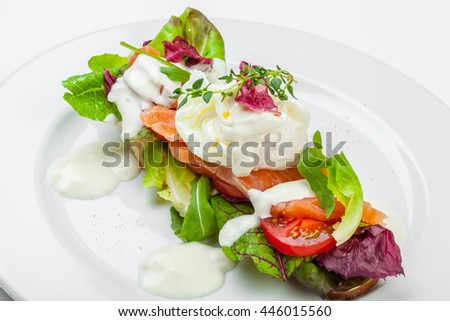 Sandwich with salmon isolated on white background