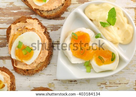 Sandwich with salmon paste and egg
