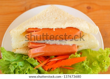 Sandwich with sausage - stock photo